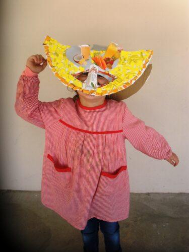 Cabeça de melão <br/>Máscara que representa uma talhada de melão