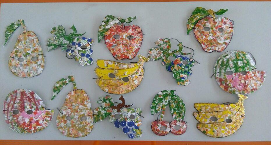FrutiCarnaval<br/>As máscaras concluídas, com a representação dos diferentes frutos.