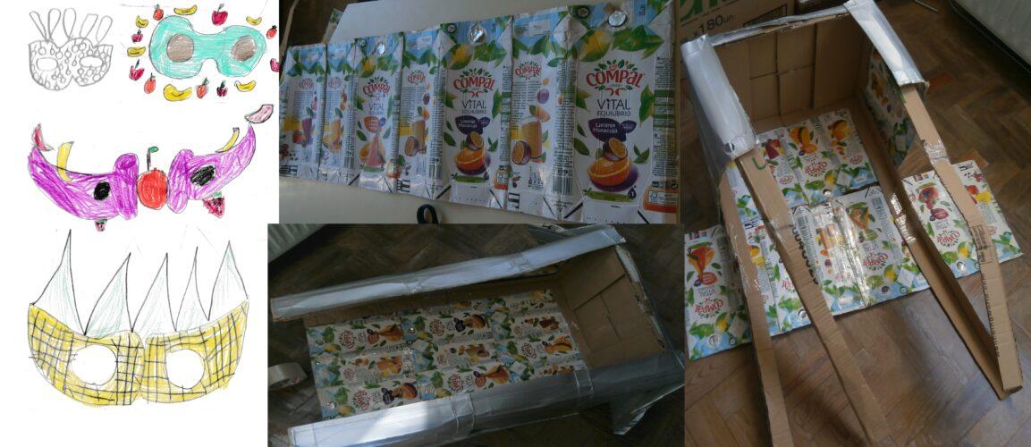 Os alunos fizeram algumas sugestões de máscaras. Criou-se uma estrutura onde se colocaram as embalagens tetrapak.