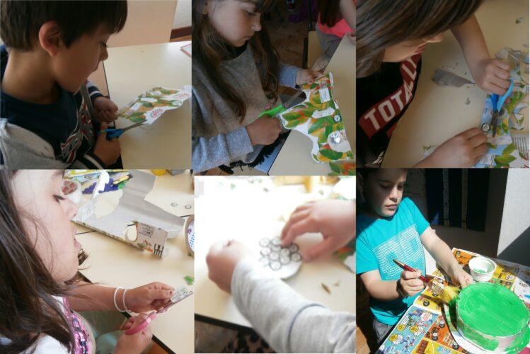 Recorte de imagens e símbolos das embalagens e pintura da tampa.