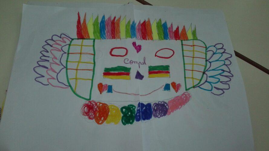 Registo gráfico da máscara elaborado pelos alunos - 1ª fase do trabalho de projeto entre a sala 11 (Educação Pré-Escolar) e o 2º F (1º Ciclo do Ensino Básico) da EB1 nº 2 da Quinta do Conde