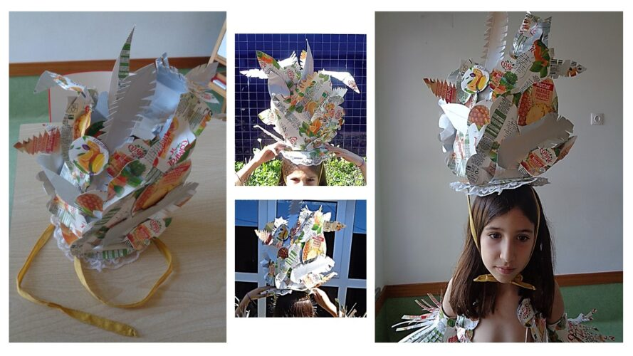Visualização do chapéu na modelo/ aluna do 3º ano de escolaridade (frente e atrás).
