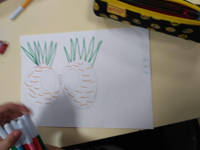 Estudo do desenho com contorno.
