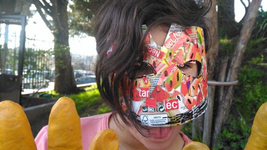Aluno com Máscara individual_Melancia