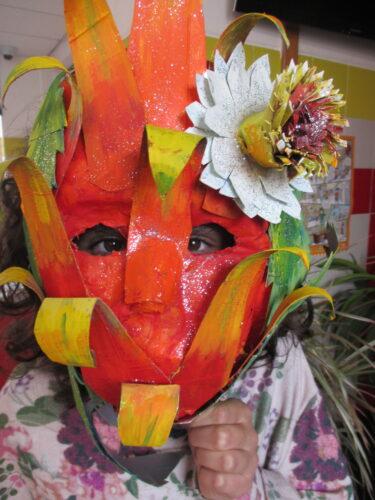 A máscara do fruto Papaya