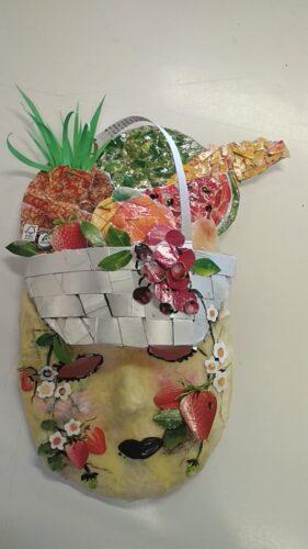 O produto final, a máscara de Carnaval criada pelo grupo de alunos do 7º ano de escolaridade.