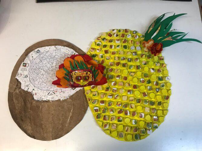 Máscara finalizada com a representação do sumo ananás/coco