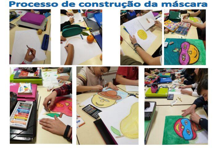 Processo de construção da máscara - Observação dos frutos e desenhos.