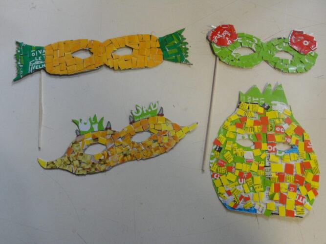 Mascarilhas construídas pelos alunos da turma A do 6º ano, utilizando os materiais descritos na memória descritiva.