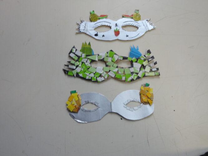 Mascarilhas construídas pelos alunos da turma B do 6º ano.